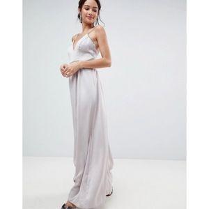 NWT ASOS Beaded V Neck Satin Sleeveless Gown